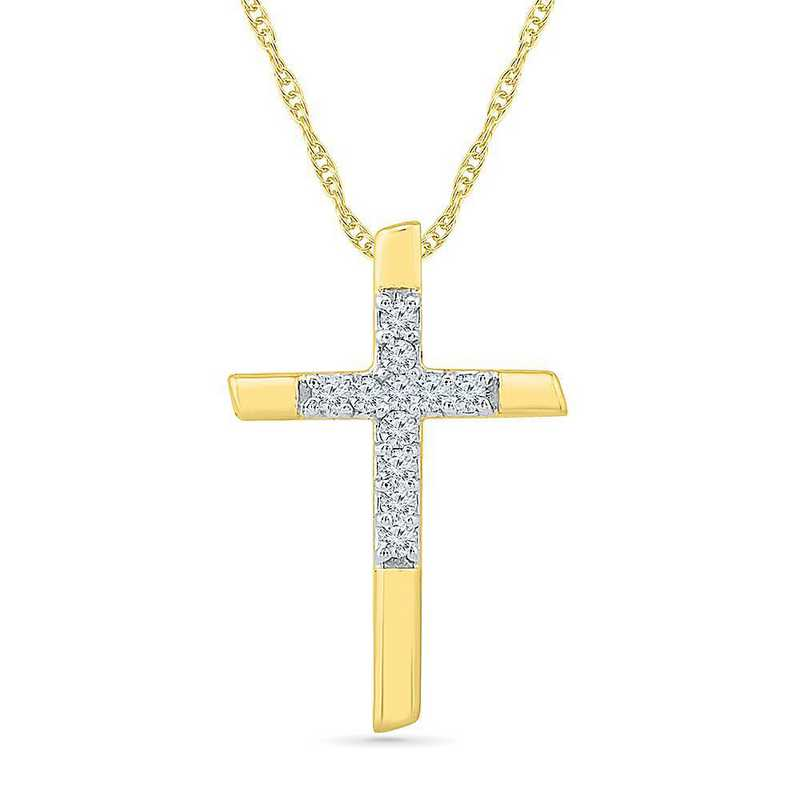 PC203547BTY: 10KT YELLOW GOLD WITH DIAMOND ACCENT CROSS PENDANT