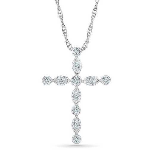 PC206147CTW: 10KT WHITE GOLD WITH 1/8CTTW DIAMOND CROSS PENDANT