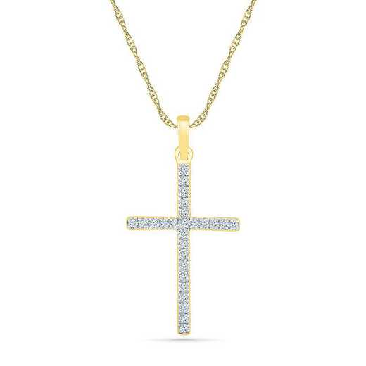 PC206465BTY: 10KT YELLOW GOLD WITH 1/10CTTW DIAMOND CROSS PENDANT