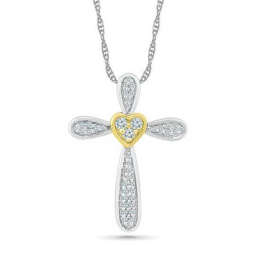 PC206665CXY: STERLING SILVER AND 10KT YG WITH DIA 1/8CTTW CROSS PENDANT