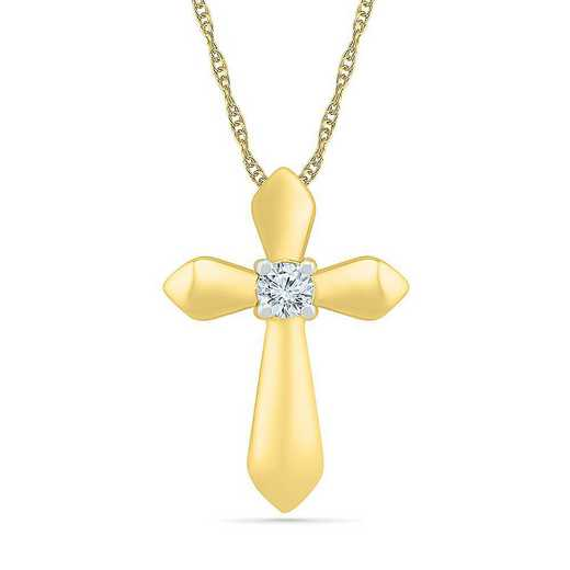 PC206855BTY: 10KT YELLOW GOLD WITH DIAMOND ACCENT CROSS PENDANT