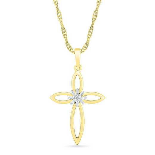 PC207404ATY: 10KT YELLOW GOLD WITH DIAMOND ACCENT CROSS PENDANT