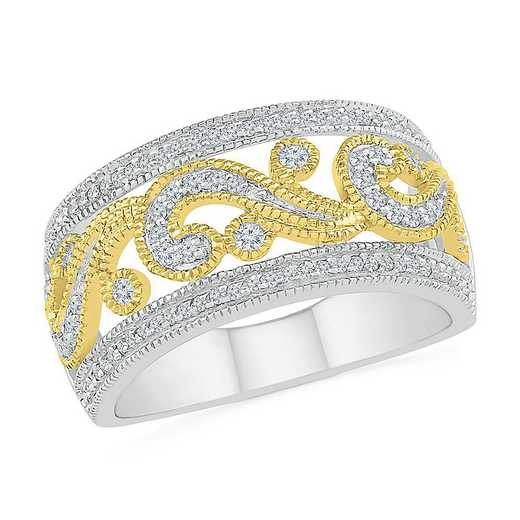 SS & 10KT YG WITH 3/8CTTW DIAMOND FASHION BAND RING
