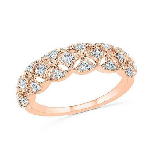 10KT ROSE GOLD WITH 1/6CTTW DIAMOND FASHION BAND RING