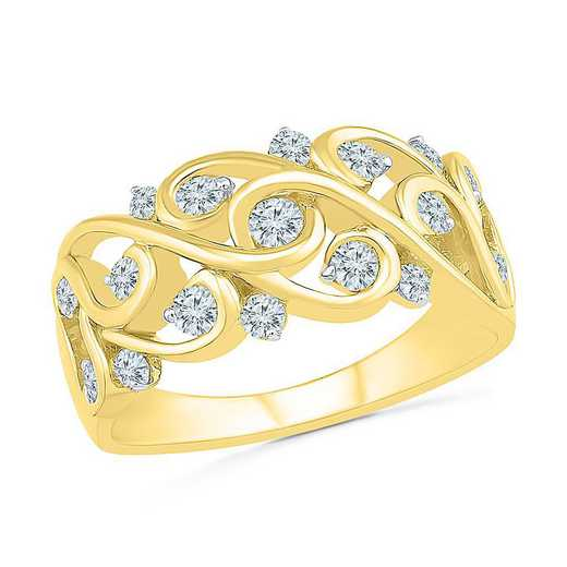 10KT YELLOW GOLD WITH 1/2CTTW DIAMOND FASHION BAND RING