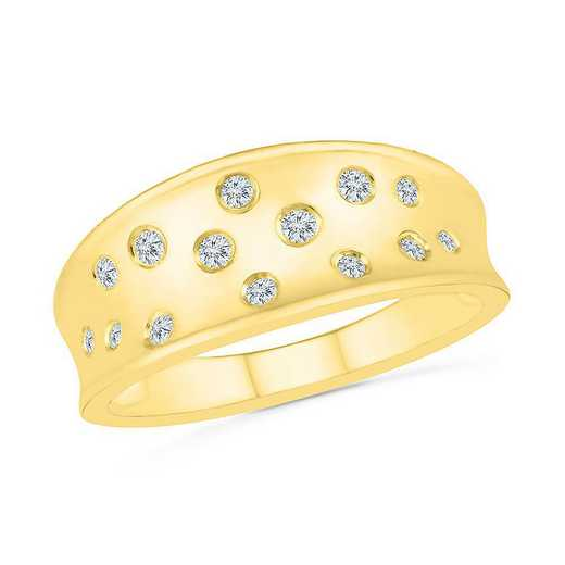10KT YELLOW GOLD WITH 1/6CTTW DIAMOND FASHION BAND RING