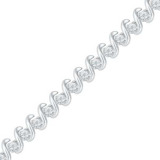BF126450BAW: STERLING SILVER WITH 1/10CTTW DIAMOND FASHION BRACELET