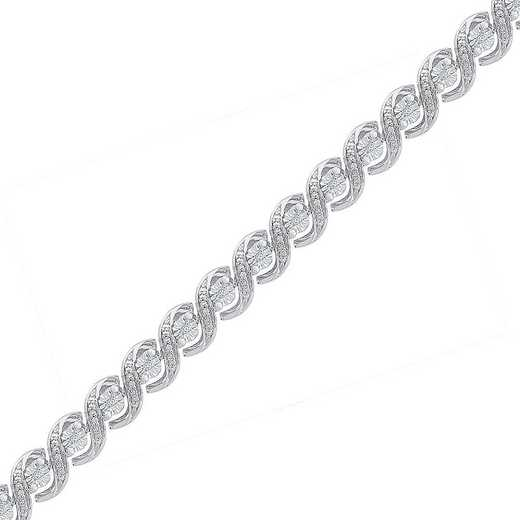 BF127945BAW: STERLING SILVER WITH 1/10CTTW DIAMOND FASHION BRACELET