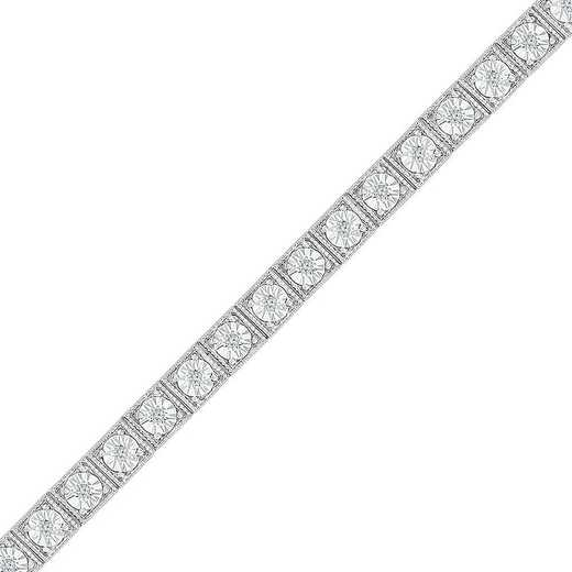 BT128279BAW: STERLING SILVER WITH 1/10CTTW DIAMOND FASHION BRACELET