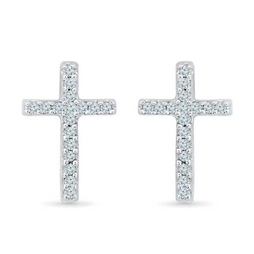 EF017435BAW: 1/10CTTW DIA CROSS EARRINGS