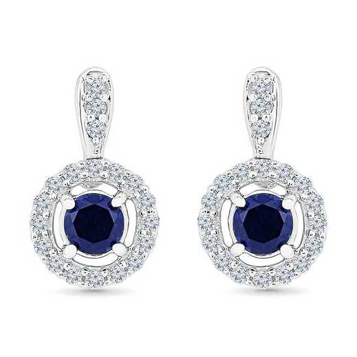 EF100670ZAW LWS LBS: SS WITH CREATED WHITE AND BLUE SAPPHIRE FASHION EARRING