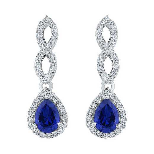 EF103443ZAW LWS LBS: SS WITH CREATED WHITE AND BLUE SAPPHIRE FASHION EARRING