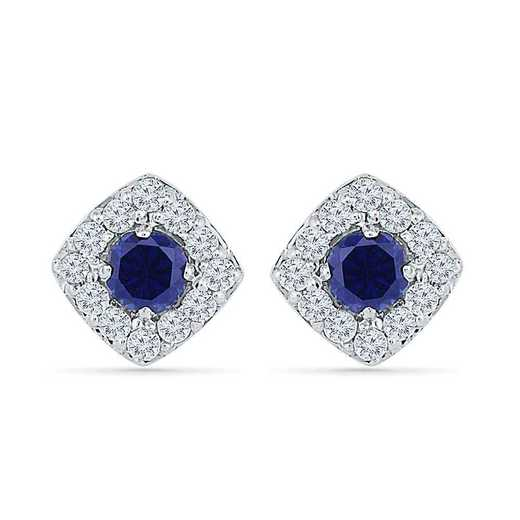 EF103530ZAW LWS LBS: SS WITH CREATED WHITE AND BLUE SAPPHIRE FASHION EARRING