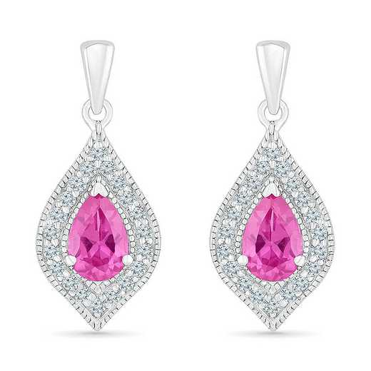 EF105296ZAW LWS LPS: SS WITH CREATED WHITE AND PINK SAPPHIRE FASHION EARRING