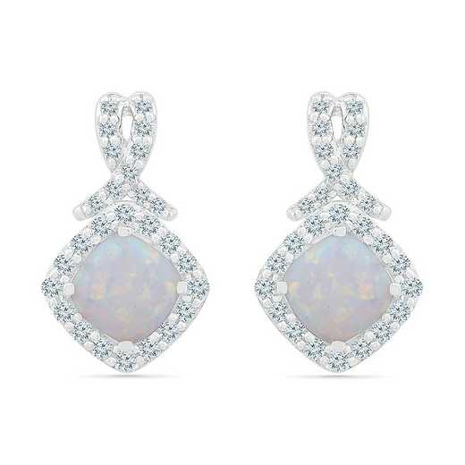 EF105375ZAW LWS LOP: SS WITH CREATED WHITE SAPPHIRE AND CR OPAL FASHION EARRING