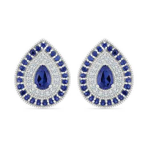EF105720ZAW LWS LBS: SS WITH CREATED WHITE AND BLUE SAPPHIRE FASHION EARRING