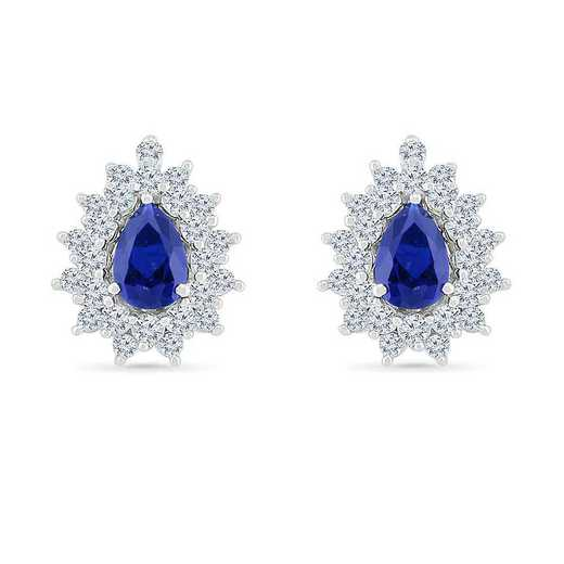 EF105798ZAW LWS LBS: SS WITH CREATED WHITE AND BLUE SAPPHIRE FASHION EARRING