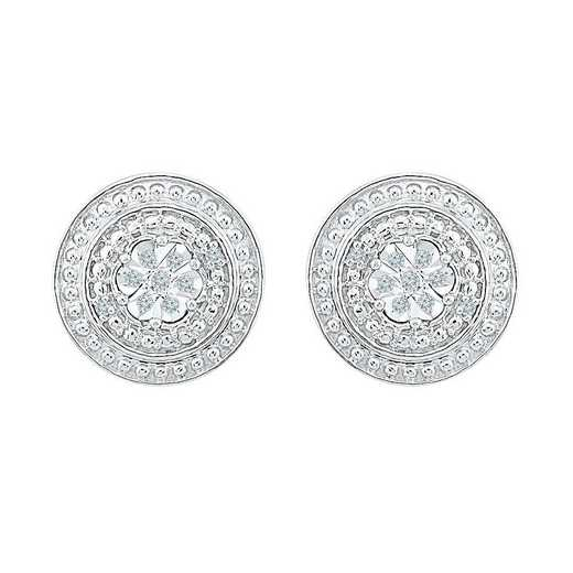 EF126990AAW: SS round pave studs EARRING J / I3