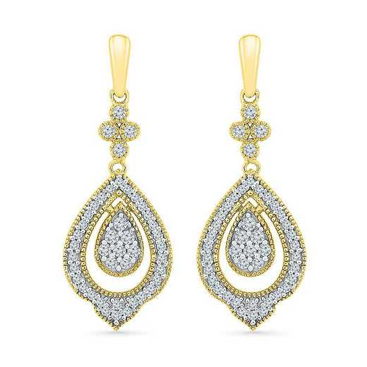 EF205520FTY: 10KT YELLOW GOLD WITH 1/3CTTW DIAMOND FASHION EARRING