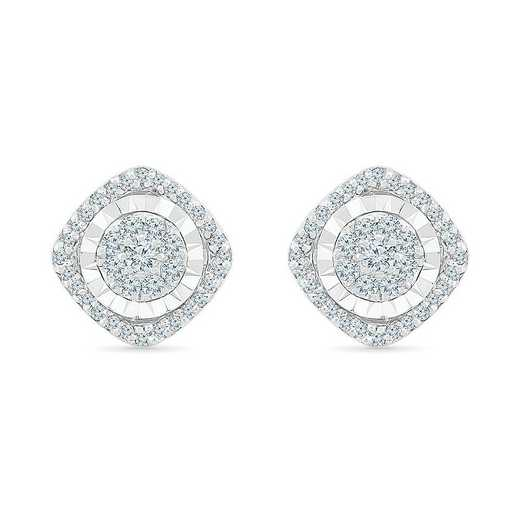 EF207209EAW: STERLING SILVER WITH 1/4CTTW DIAMOND FASHION EARRING