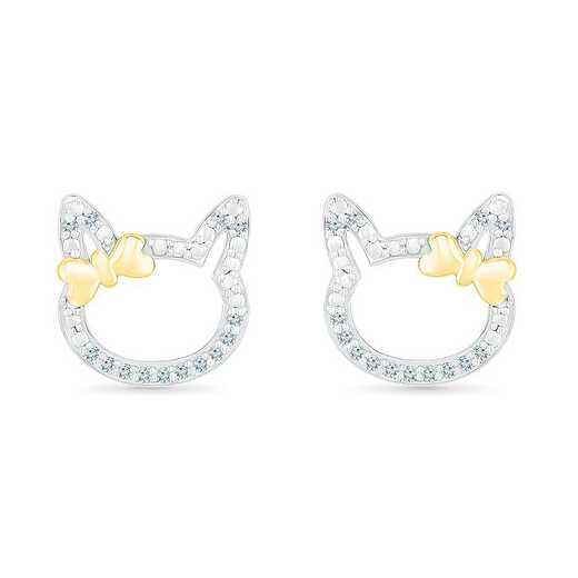 EL083437BXY: STERLING SILVER AND 10KT YG WITH DIA ACCENT FASHION EARRING
