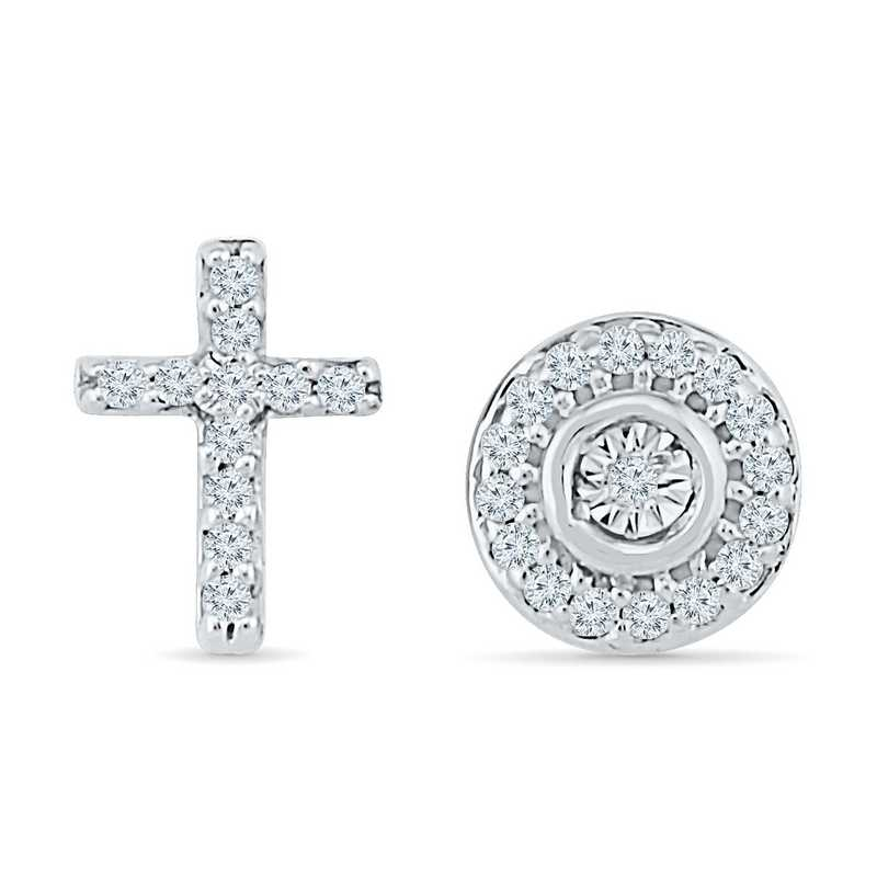 EQ081137BAW: DIA ACCNT CROSS AND MRPLT CIRCLE STUD EARRINGS