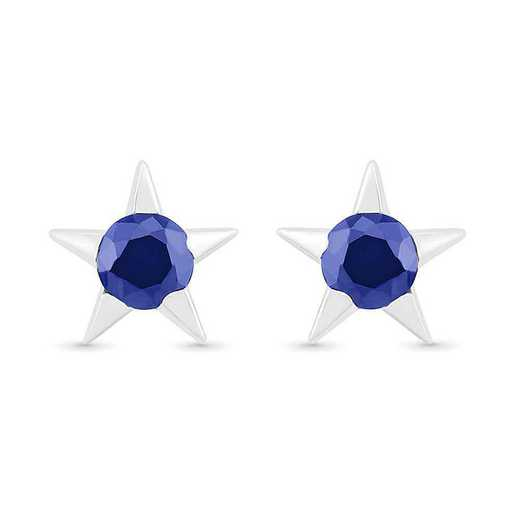 EQ105822ZAW LBS: SS WITH CREATED BLUE SAPPHIRE FASHION EARRING