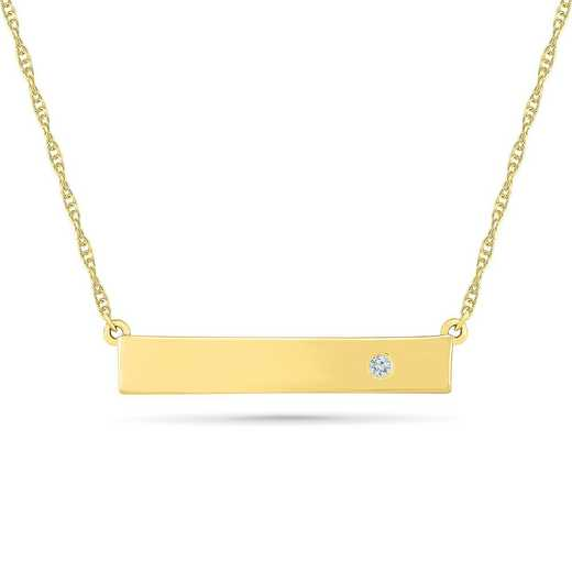 NF079639AAY: DIA ACCNT FREE BEZEL BAR NECKLACE