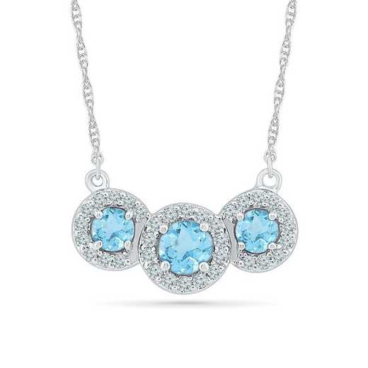 NF102192ZAW LWS BT: 3 STONE BSTONE NECK NECKLACE BLUE TOPAZ+LC W Saph