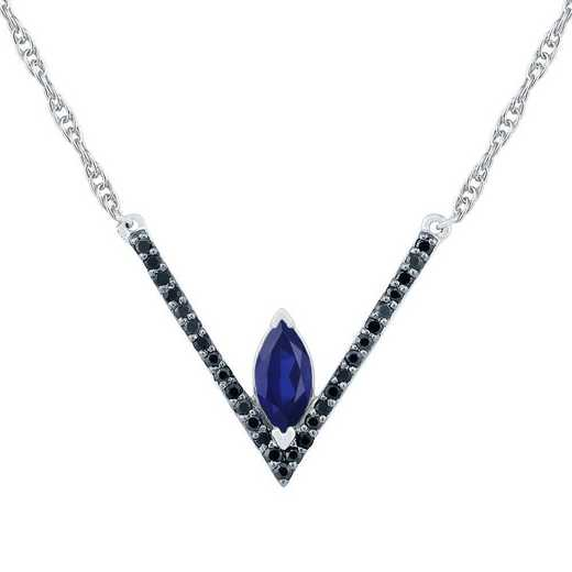 NF104621DAW B LBS: SS V GEM, BLKSPH NECK NECKLACE BLACK
