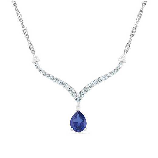 NF105806ZAW LWS LBS: SS WITH CREATED WHITE AND BLUE SAPPHIRE FASHION NECKLACE
