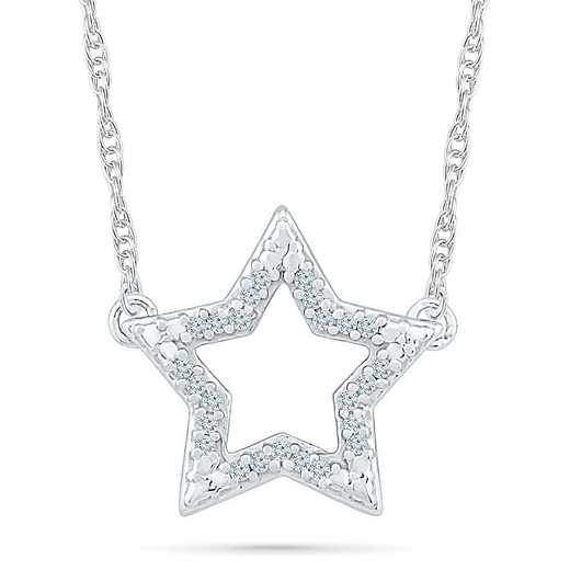 NQ077573AAW: STERLING SILVER WITH DIAMOND ACCENT FASHION NECKLACE