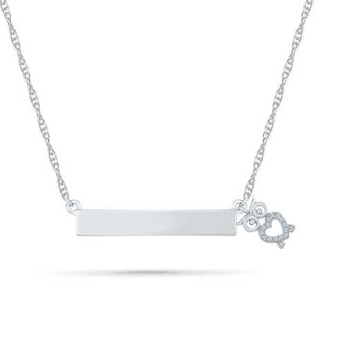 NQ079704AAW: DIA ACCNT OWL BAR NECKLACE