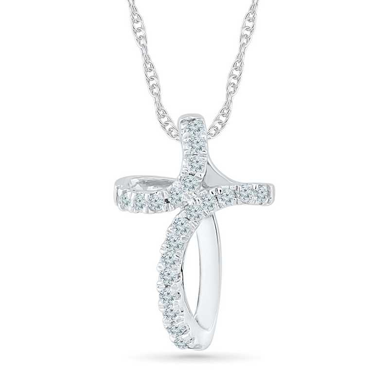 PC029912BAW: 925 DIA ACCNT LOOP CROSS NECKLACE