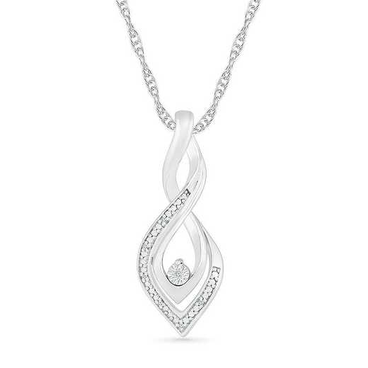 PF082842AAW: STERLING SILVER WITH DIAMOND ACCENT FASHION PENDANT
