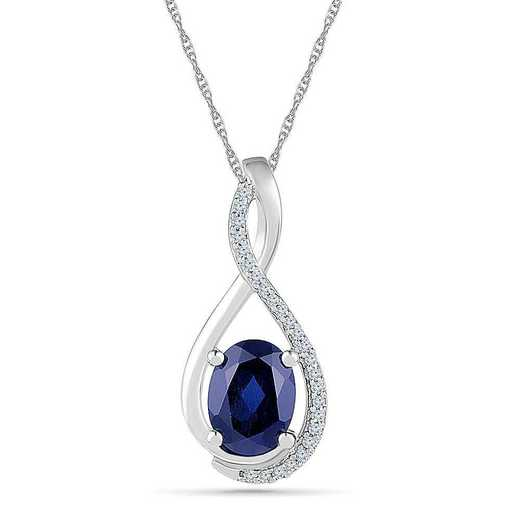 PF101272ZAW LWS LBS: SS WITH CREATED WHITE AND BLUE SAPPHIRE FASHION PENDANT