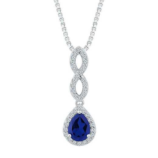 PF103444ZAW LWS LBS: SS WITH CREATED WHITE AND BLUE SAPPHIRE FASHION PENDANT