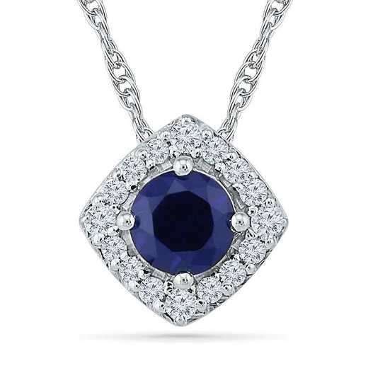 PF103529ZAW LWS LBS: SS WITH CREATED WHITE AND BLUE SAPPHIRE FASHION PENDANT