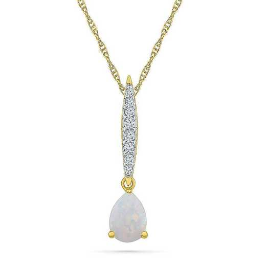 PF104631BTY LOP: 10KYG DIAMOND ACCENT WITH OPAL FASHION PENDANT