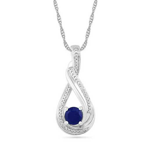 PF105196AAW LBS: SS DIAMOND ACCENT WITH BLUE SAPPHIRE FASHION PENDANT