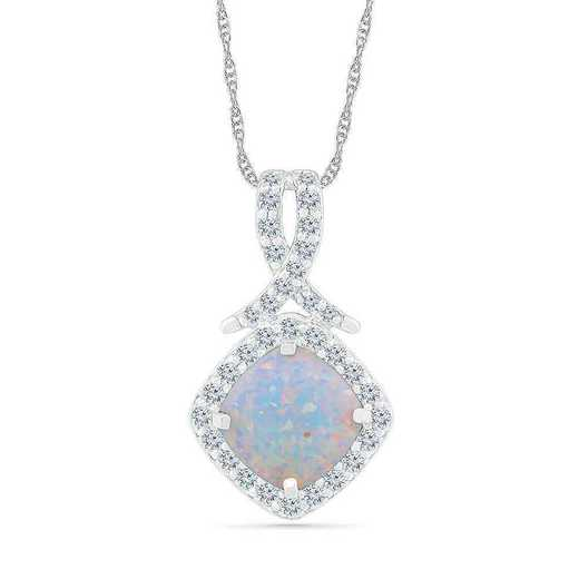 PF105339ZAW LOP WS: SS WITH CREATED WHITE SAPPHIRE AND CR OPAL FASHION PENDANT