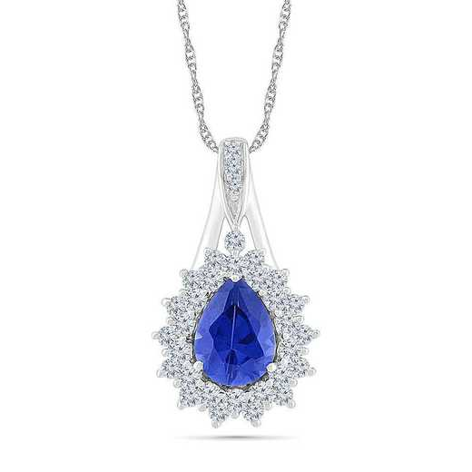 PF105797ZAW LWS LBS: SS WITH CREATED WHITE AND BLUE SAPPHIRE FASHION PENDANT