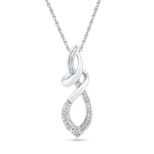 PF126617AAW: 925 DIA ACCNT LOOP INFINITY PENDANT NECKLACE
