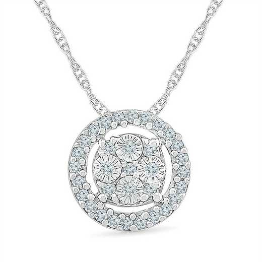 PF127875BAW: STERLING SILVER WITH DIAMOND 1/10CTTW FASHION PENDANT