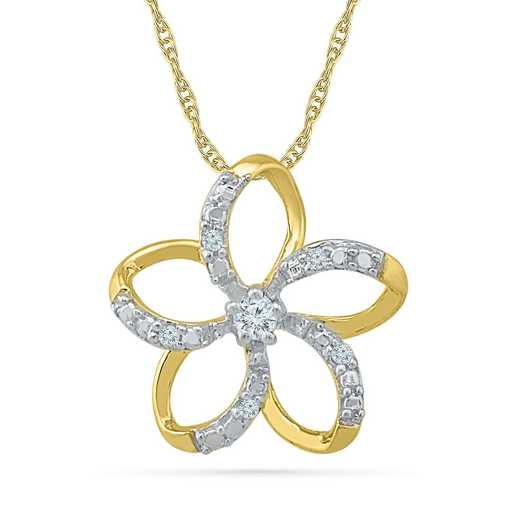 PF203308ATY: 10KYG DIA ACCNT FLOWER PENDANT NECKLACE