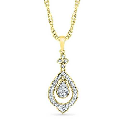 PF205519DTY: 10KT YELLOW GOLD WITH 1/5CTTW DIAMOND FASHION PENDANT