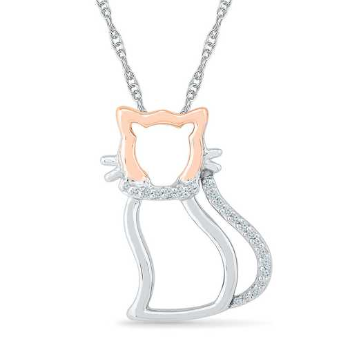 PL079220AXP: 925/10KPG DIA ACCNT TWO TONE CAT NECKLACE
