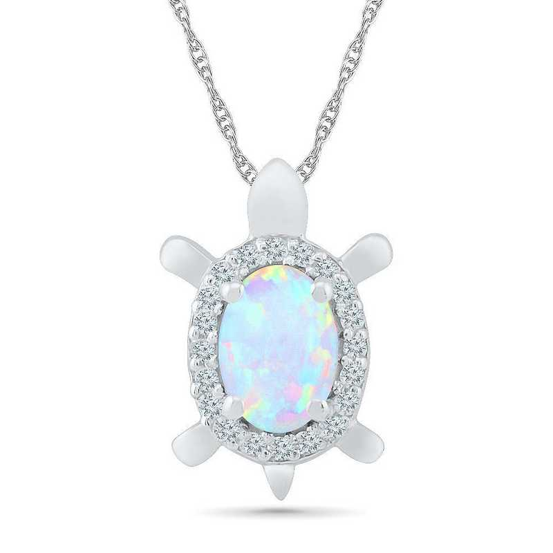 PL104281ZTW LWS OPL: 10 W  WG BSTONE TURTLE Pend LC OPAL+LC W Saph  DIA Accent