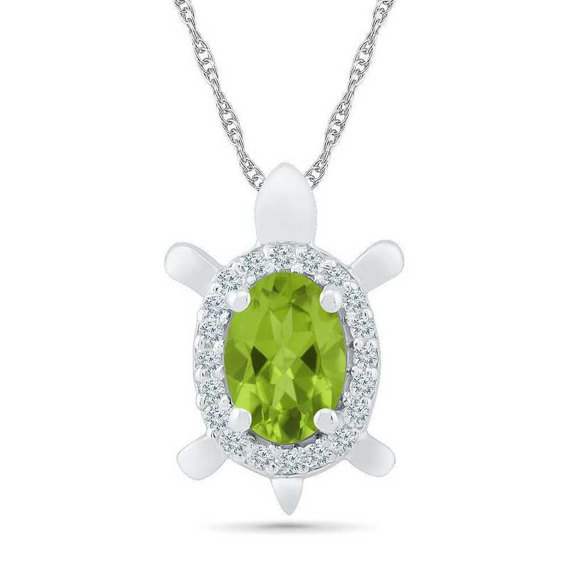 PL104281ZTW LWS PER: 10 W  BSTONE TURTLE Pend PERIDOT+LC W Saph  DIA Accent