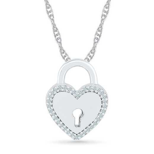 PQ079412BAW: 925 1/10CTTW DIA HEART LOCKET PENDANT NECKLACE